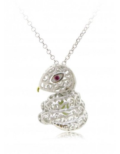 "HK089~ 925 Silver Snake Shaped Lantern Pendant with 18"" Silver Necklace"
