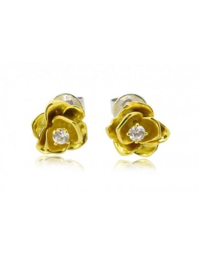 HK101~ 925 Silver Rose Earrings