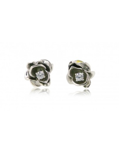 HK103~ 925 Silver Rose Earrings