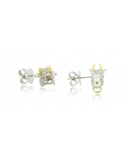 HK105~ 925 Silver Ox Shaped Earrings