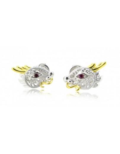 HK108~ 925 Silver Dragon Shaped Earrings
