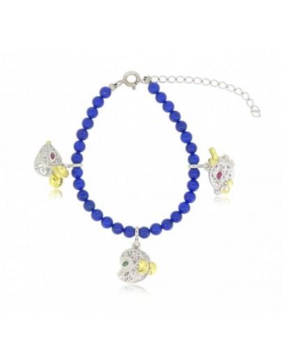 HK116~ 925 Silver Chinese Animal Zodiac Bracelet with Lapis