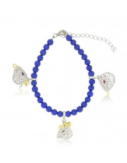 HK117~ 925 Silver Chinese Animal Zodiac Bracelet with Lapis