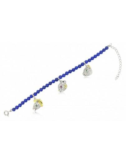 HK118~ 925 Silver Chinese Animal Zodiac Bracelet with Lapis