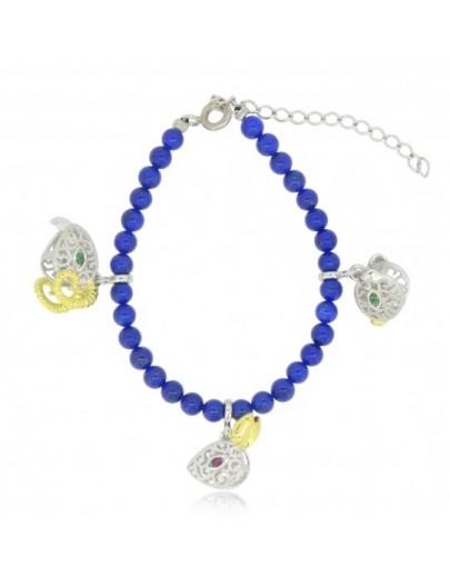 HK119~ 925 Silver Chinese Animal Zodiac Bracelet with Lapis