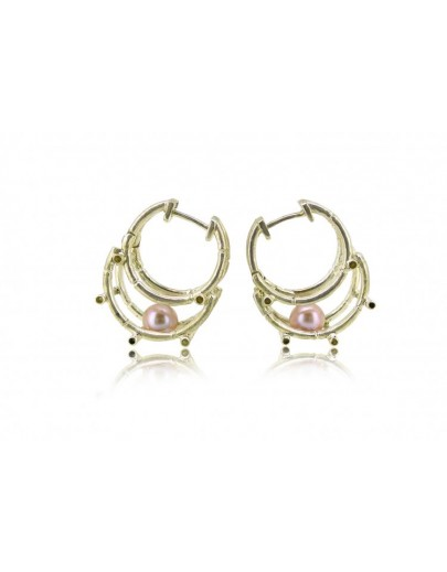HK123-P~ 925 Silver Bamboo Scaffolding Colour Pearl Earrings
