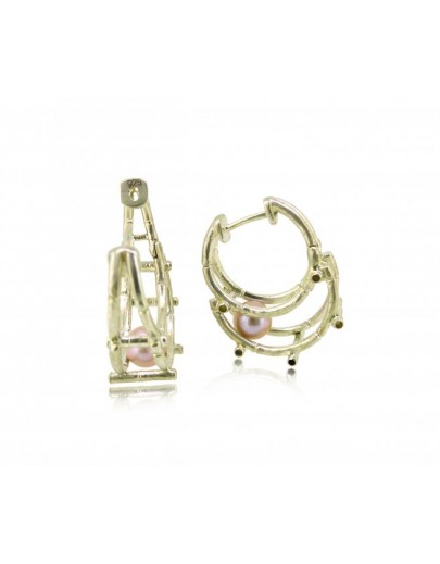 HK123-P~ 925 Silver Bamboo Scaffolding Colour Pearl Earrings
