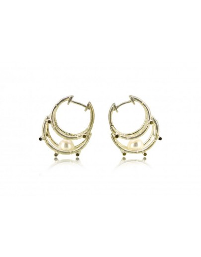 HK123~ 925 Silver Bamboo Scaffolding Pearl Earrings