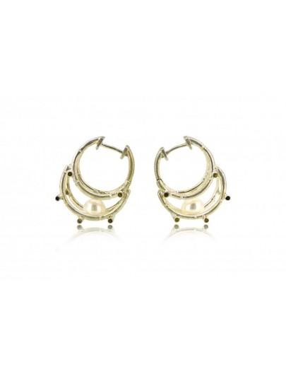 HK123~ 925 Silver Bamboo Scaffolding Pearl Earrings