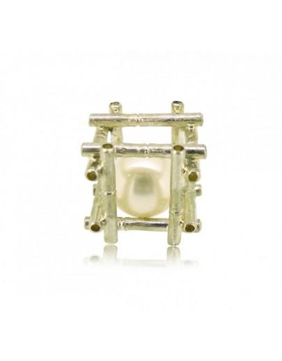"HK125~ 925 Silver Bamboo Scaffolding Pearl Pendant w/ 18"" Necklace"