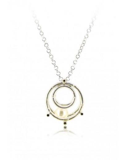 "HK127~ 925 Silver Bamboo Scaffolding Pearl Pendant w/ 18"" Necklace"