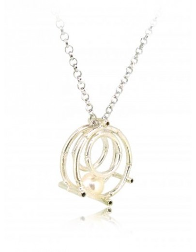 "HK127~ 925 Silver Bamboo Scaffolding Pearl Pendant w/ 18"" Necklace"