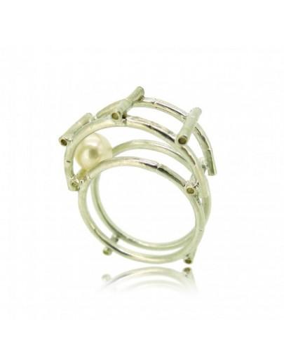 HK141~ 925 Silver Bamboo Scaffolding Pearl Ring/Pendant