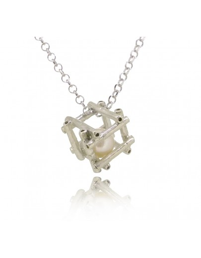 "HK142~ 925 Silver Bamboo Scaffolding Pearl Pendant w/ 18"" Necklace"