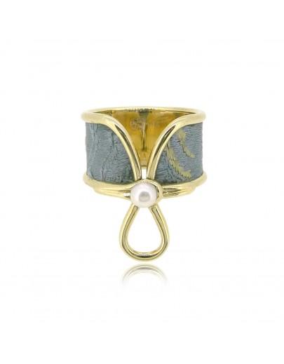 HK144~ [Jīng Yún Jǐn Xiù] 10K Gold Blue Cheongsam Ring