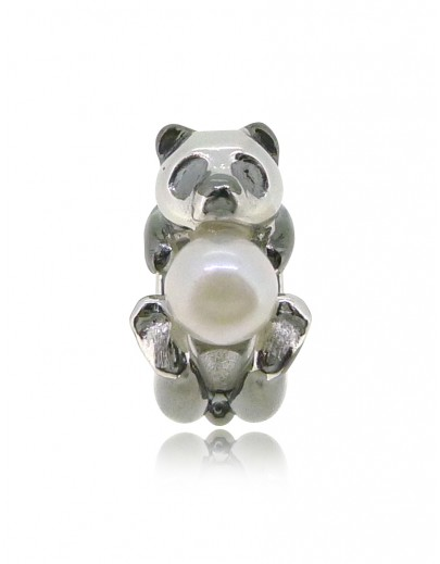 HK148~ Panda Shaped Silver Charm with Natural Pearl