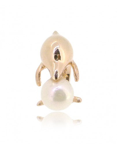 HK149~ Sousa Chinensis Shaped Silver Charm with Natural Pearl