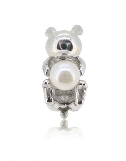 HK150~ Rabbit Shaped Silver Charm with Natural Pearl