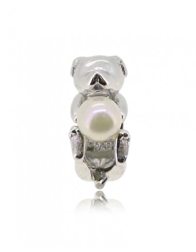 HK151~ Dog Shaped Silver Charm with Natural Pearl