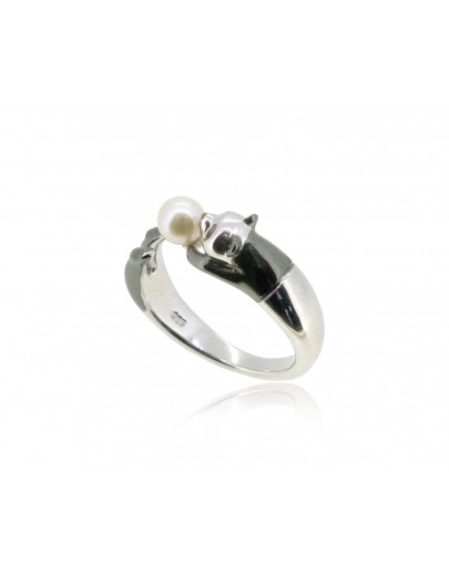 HK183~ Panda Shaped Silver Ring With Natural Pearl