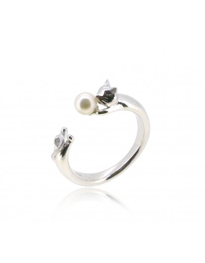 HK187~ Cat Shaped Silver Ring With Natural Pearl