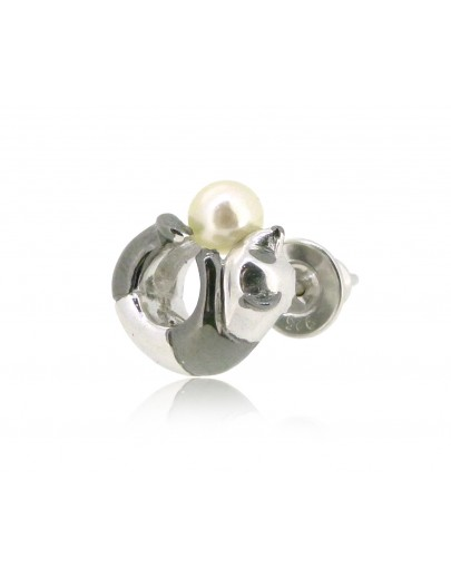 HK188~ Panda Shaped Silver Earring With Natural Pearl