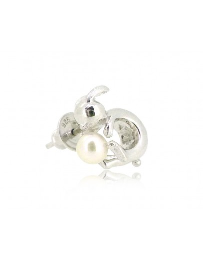 HK190~ Rabbit Shaped Silver Earring With Natural Pearl