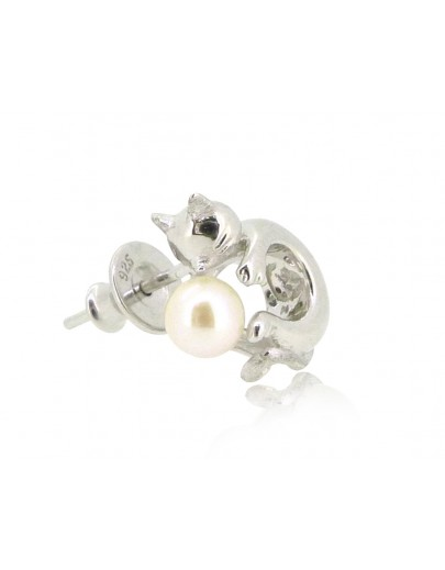 HK192~ Cat Shaped Silver Earring With Natural Pearl