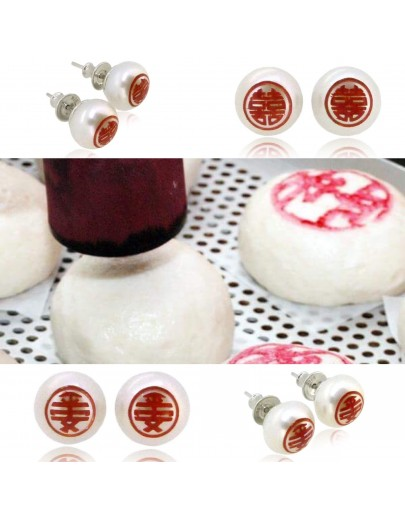 HK242~ 平安 Peaceful 925 Silver Earrings with Bun Shaped Pearl