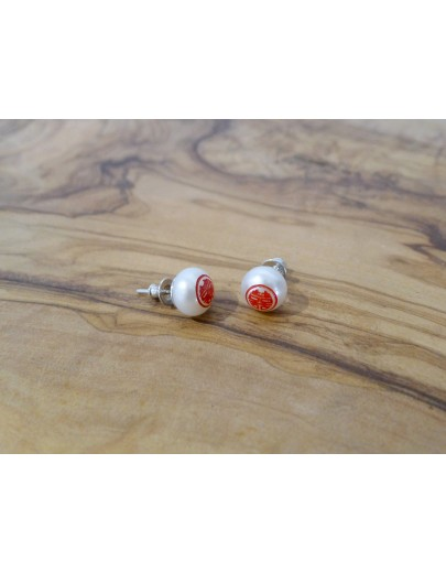 HK243~ 囍 Double Happiness 925 Silver Earrings with Bun Shaped Pearl