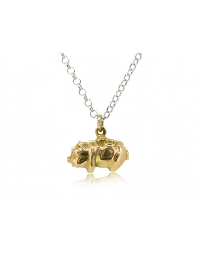 HK244~ 18K Gold Piggy Bank Shaped Pendant