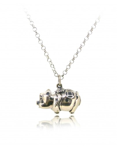 HK245~ 925 Sterling Silver Piggy Bank Shaped Pendant