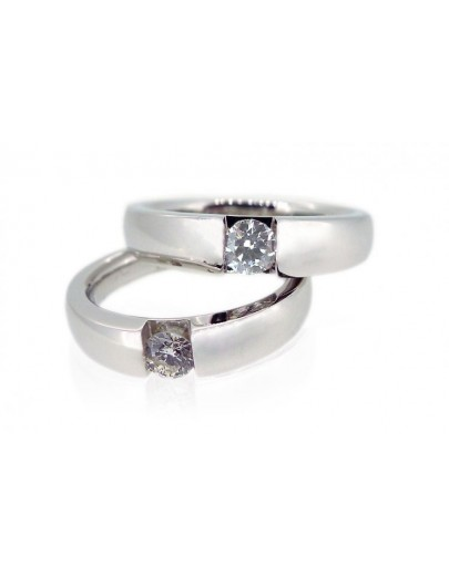 OD006~ 18K White Gold Diamond Wedding Rings
