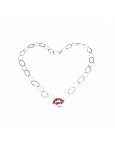 OD021~ 925 Silver Red Enamel Lip Necklace