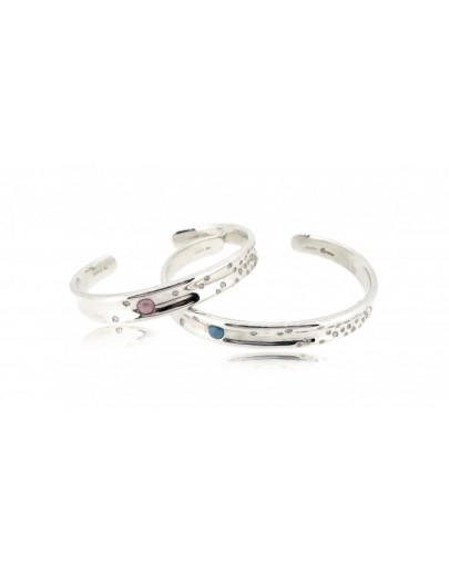 OD027~ 925 Silver Diamond Lover Bangles