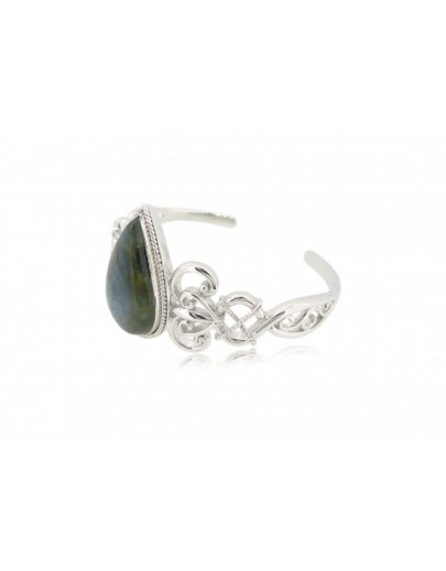 OD029~ 925 Silver Bangle with Opal