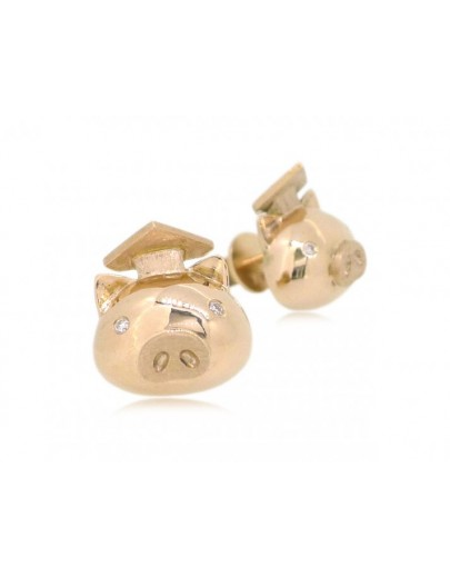 OD039~ 18K Rose Gold Graduating Pig Student Earrings w/ Diamonds