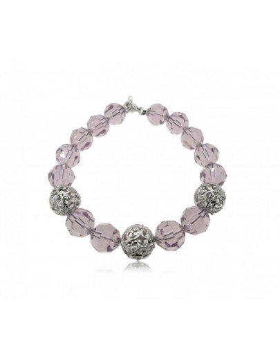 OD047~ 925 Silver Bracelet w/ White Swarovski and Purple crystals
