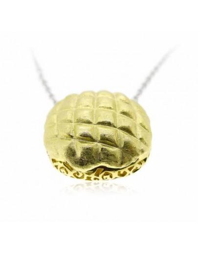 "HK018~ 925銀菠蘿包造型(20mm) 18""銀頸鏈"
