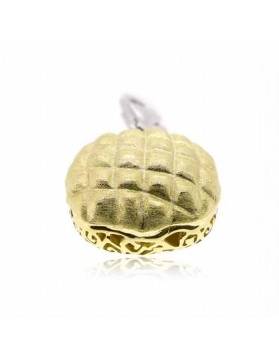 "HK023~ 925銀菠蘿包造型掛飾(15mm)連7.5""銀手鏈"