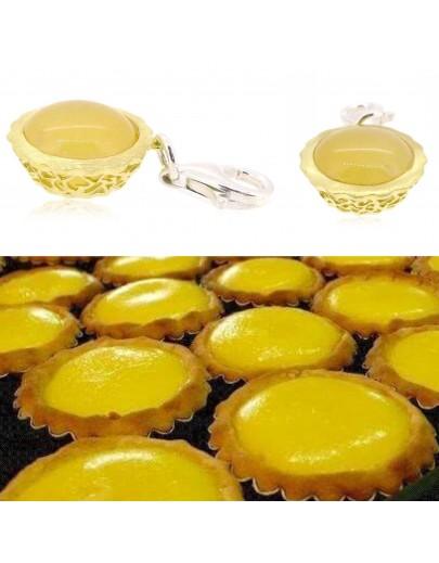 HK030~ 925銀米黃玉蛋撻造型掛飾(15mm)