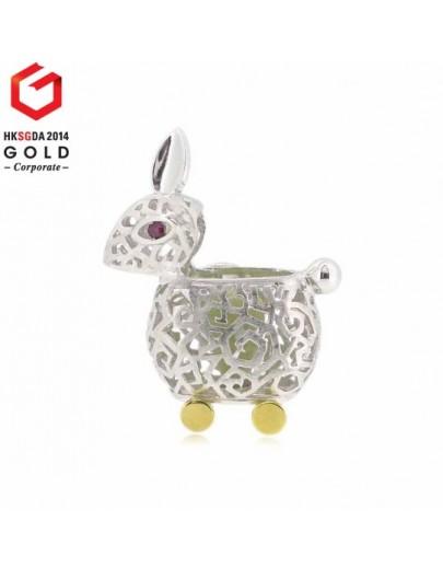 HK037~ 925銀白兔燈籠造型領針