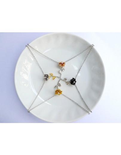 """HK043~ 925銀玫瑰花造型吊墜連18""""銀頸鏈"""