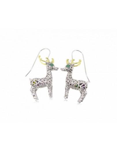HK054~ 925銀聖誕鹿造型耳環