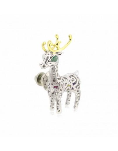 HK055~ 925銀聖誕鹿造型領針