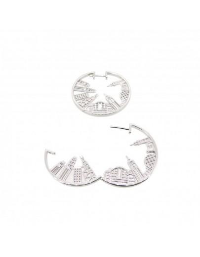 HK063~ 925銀香港維多利亞海港風景耳環 (28mm)
