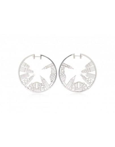 HK064~ 925銀香港維多利亞海港風景耳環 (43mm)