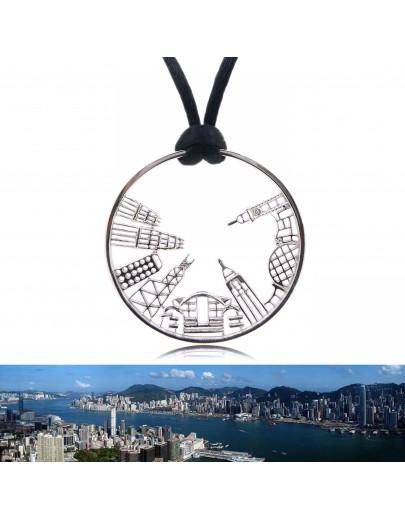 "HK065~ 925銀香港維多利亞海港風景吊墜(43mm)連32""絲絨頸鏈"
