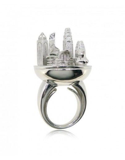 HK076~ 925銀香港維多利亞海港風景戒指(鴨仔)