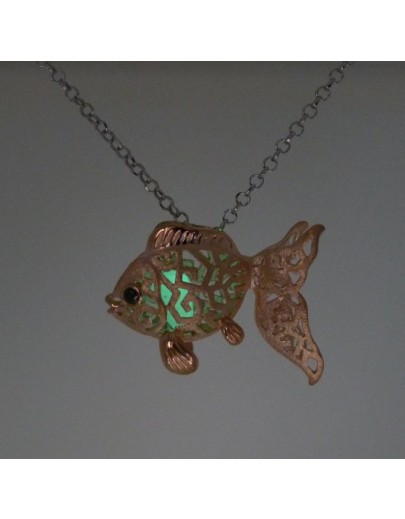 "HK078~ 925銀金魚燈籠造型吊墜連18""銀頸鏈"